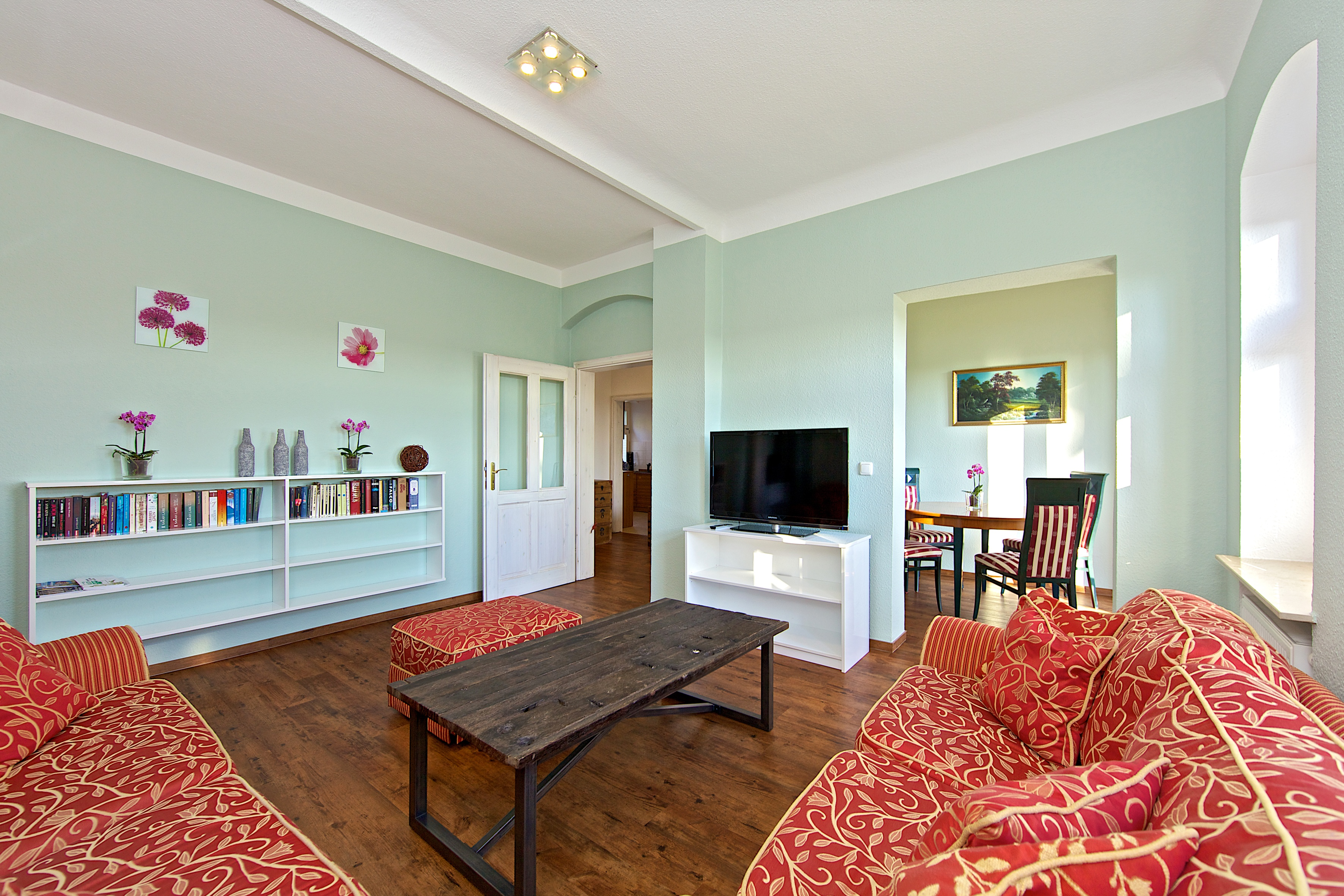 Wohnzimmer unserer Ferienwohnung in Dresden Loschwitz
